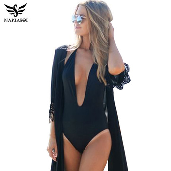 NAKIAEOI New 2018 Sexy One Piece Swimsuit Female Backless Bodysuit Brazilian Monokini Swimwear Women Bathing Suit Swimming Black