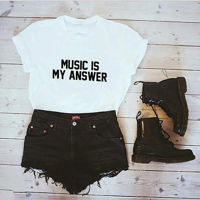 9b5e16b7 T Shirt Plus Size Tumblr Shirt Music Is My Answer Shirt LOVE MUSIC TShirt  Instagram Shirt Women Tops T-shirt Gift Hip Hop XS-3XL