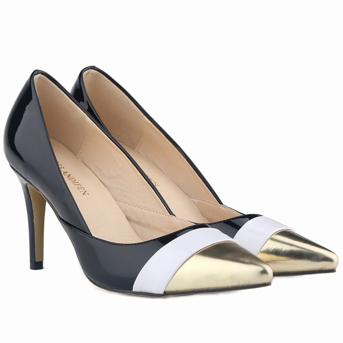 fashion OL high heels shoes woman Classic pointed toe women's pumps 8cm heels shallow mouth patch work star shoes цены онлайн