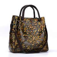 Retro stil blumen trend handtaschen geprägte damen diagonal rindsleder umhängetasche frauen aus echtem leder handtasche berühmte marken