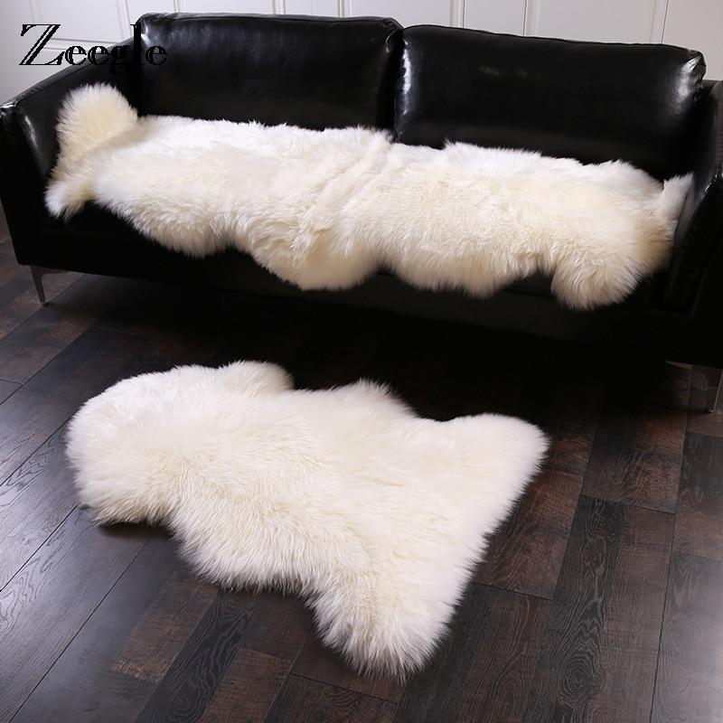 Zeegle Floor Mat Sheepskin Hairy Carpet For Living Room Bedroom Rugs Skin Fur Plain Fluffy Area Rugs Washable Bedroom Faux Mat