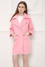 Simple Medium Long Design Pink Girls Wool Jacket, Popular Fall/Winter Woolen Jacket for Women