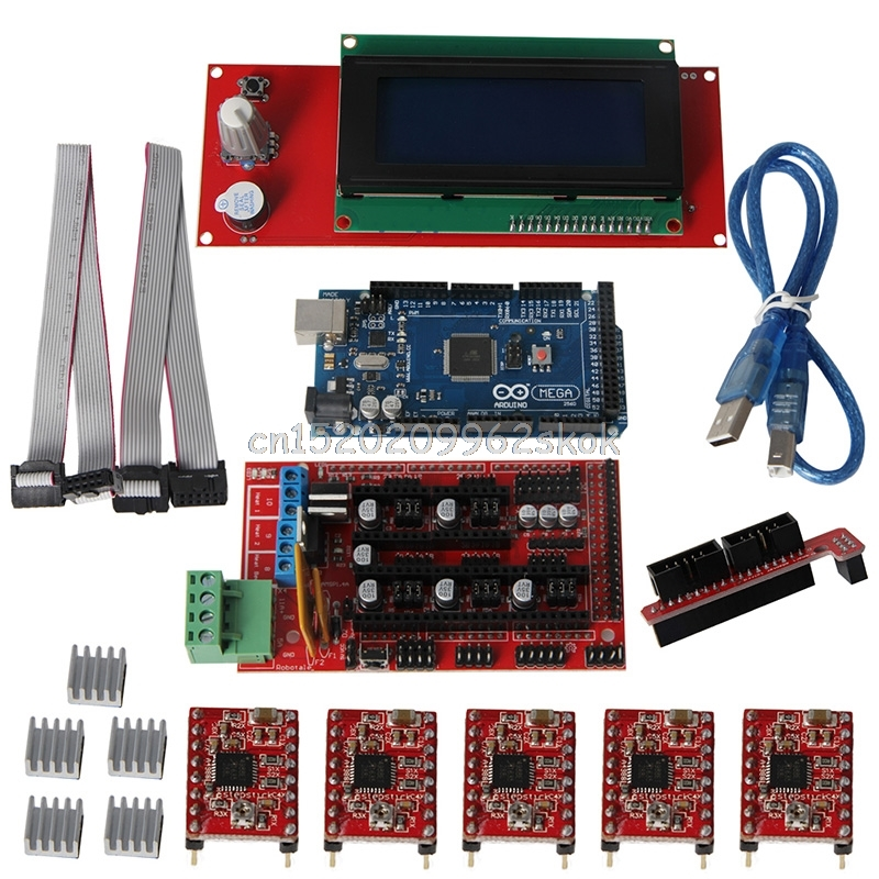 3D Printer Kit Mega2560 R3+A4988+2004LCD+RAMPS 1.4 Controller for Arduino Reprap #H029# new mega 2560 ramps 1 4 controller 4pcs a4988 stepper driver module for 3d printer kit for arduino reprap