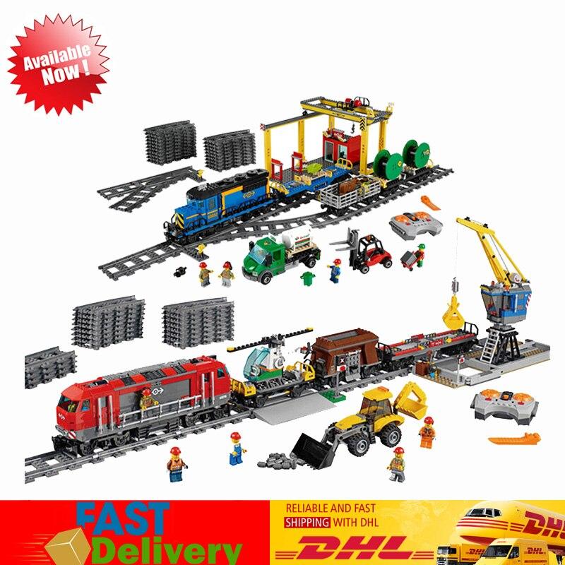 En Stock educativos 02008 de la ciudad de tren de carga + 02009 pesado camión tren edificio Compatible LegoINGlys 60098 bloque 60052 ladrillos modelo Juguetes