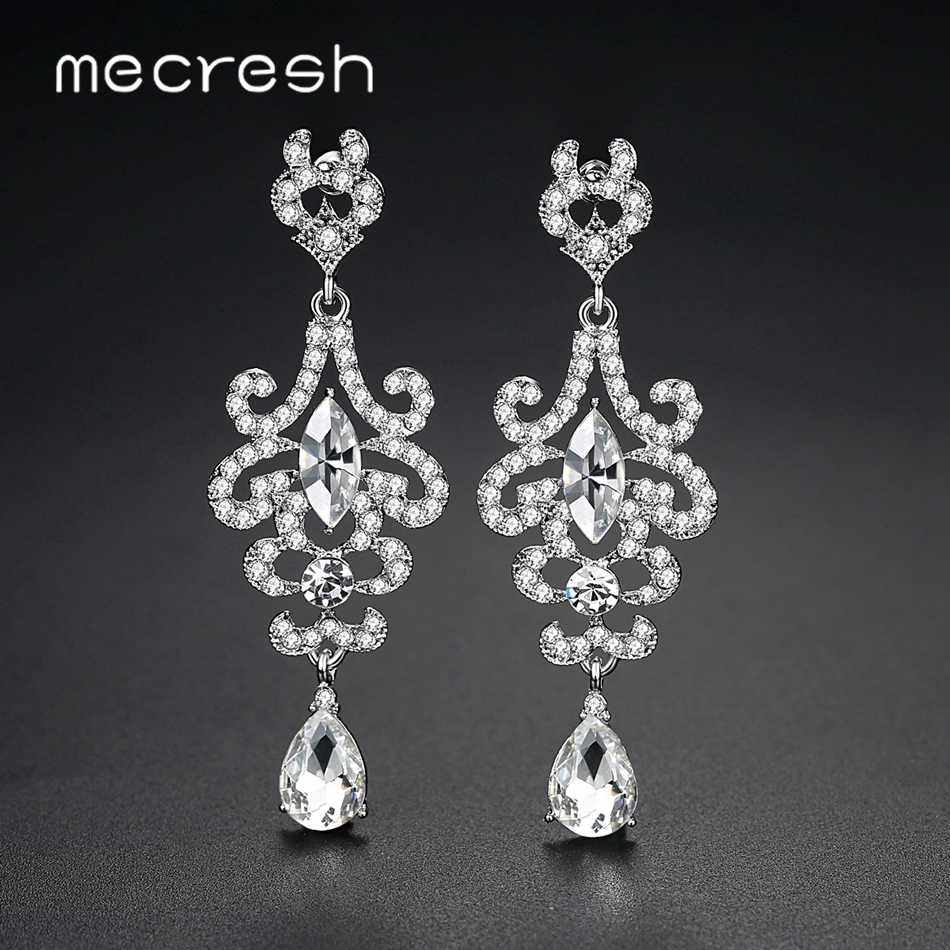 Mecresh Silver Color 888 Rhinestone Crystal Chandelier Wedding Drop  Earrings Bridal Dangle Earrings Women accessories MEH1320 261b55d979d1