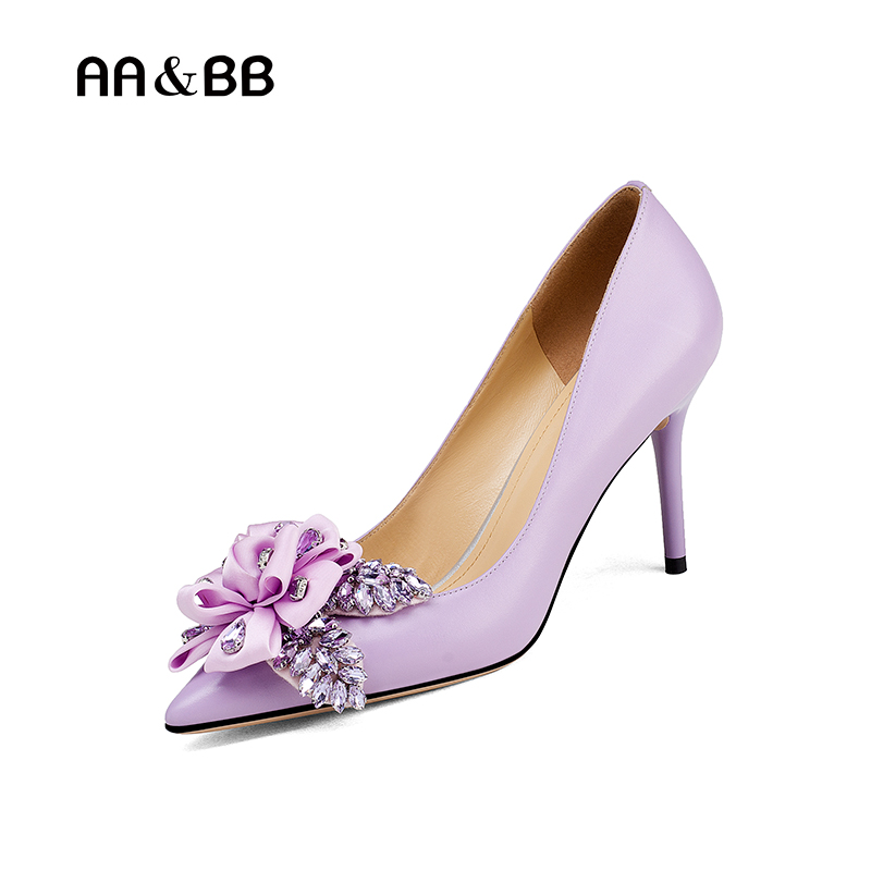 AA&BB crystal flower shallow shoes woman purple elegant high heels pointed toe thin heels party women shoes slip-on pumps lttl bling elegant pointed toe high heels women pump slip on rhinestone pointed toe thin heel party wedding crystal shoes woman