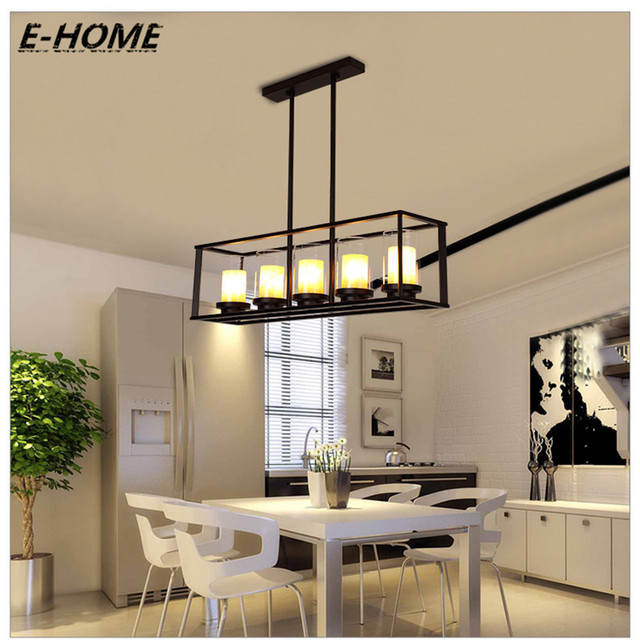 American simple rectangular restaurant  creative personality bar living room lights European pastoral marble glass chandelier