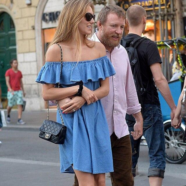 MOARCHO Femmes robe Nouvelle Mode Designer Lâche Slash cou Jeans Robes D'été Casual Sans Manches dames élégant Denim Robes