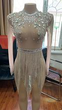Shiny Large Crystals Mesh Sexy Bodysuit Shiny Chain Rhinestone Fringe Outfit Club Night Party Wear See Through Costume