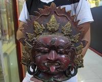 004652 Tibet Buddhismus Reine Bronze inlay Rote koralle Mahakala Buddha Kopf Maske statue-in Statuen & Skulpturen aus Heim und Garten bei