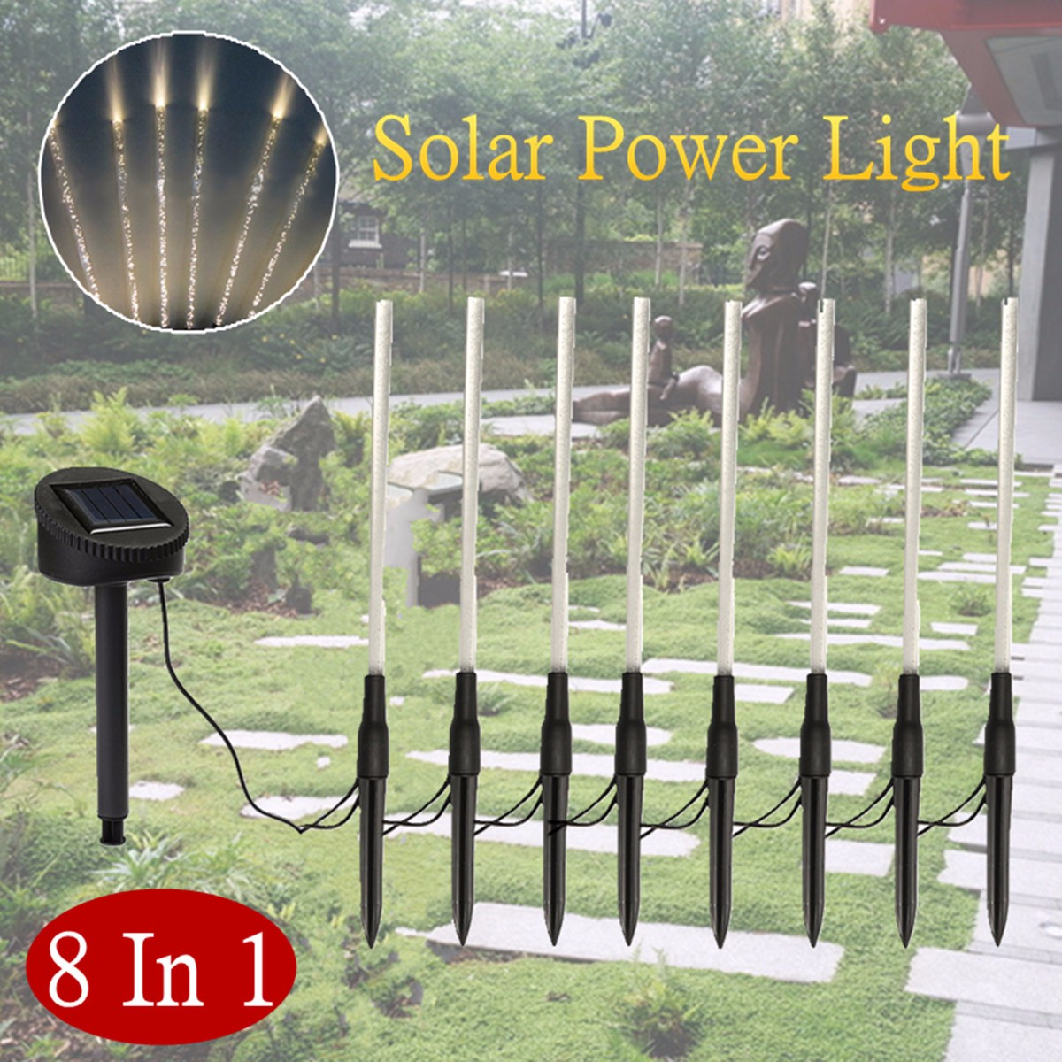 8 In 1 Acrylic LED Solar Powered Light Warm White Outdoor Garden Decorative Flood Lighting Lawn Lamp Waterproof Spot Lights css rechargeable waterproof solar powered 30 led spot light white lamp with lithium battery inside for lawn garden road hot