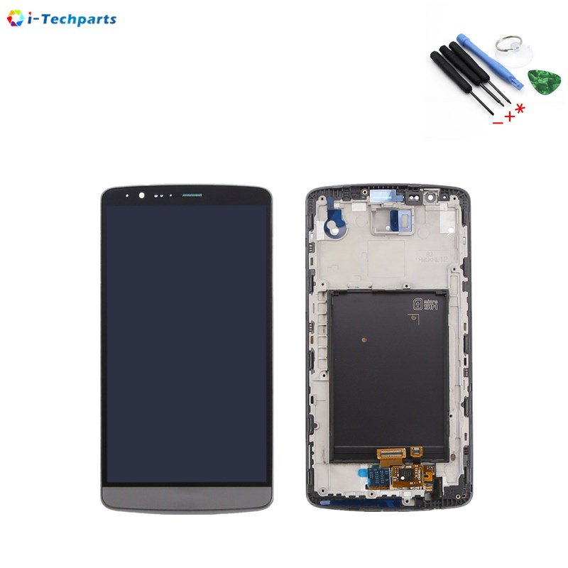 Original New For LG G3 D855 D850 LCD Display + Touch Digitizer Screen with Frame Replacement, Black White Gold original lcd for lg g3 d850 d855 lcd display screen digitizer touch glass pantalla with frame bezel assembly replacement