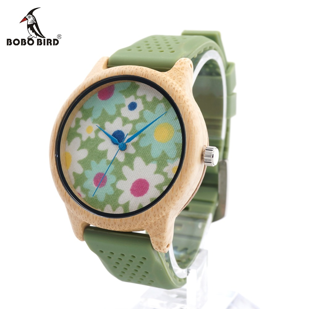 BOBO BIRD CaB04 Soft Green Silicone Band Bamboo Wood Watches for Women Flowers Cloth Dial Casual