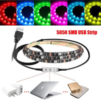 Universal 100cm Multi Colour RGB LED Strip Light USB Cable LED TV Background Lighting Kit