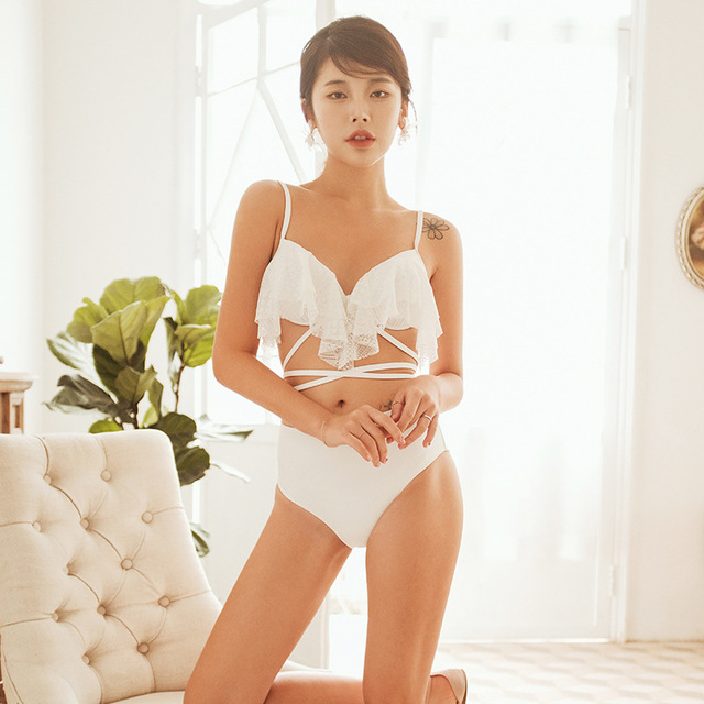 2 Piece Swimsuit Women High Leg Bikini Swim Suits Swimming Women's Wear 2019 Korea Ins Light Luxury White Lace Waist Bind Woman