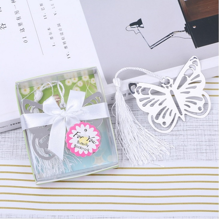 200pcs Practical Reading Essential Metal Butterfly Bookmark With Tassels Wedding Favors Gifts wen4556