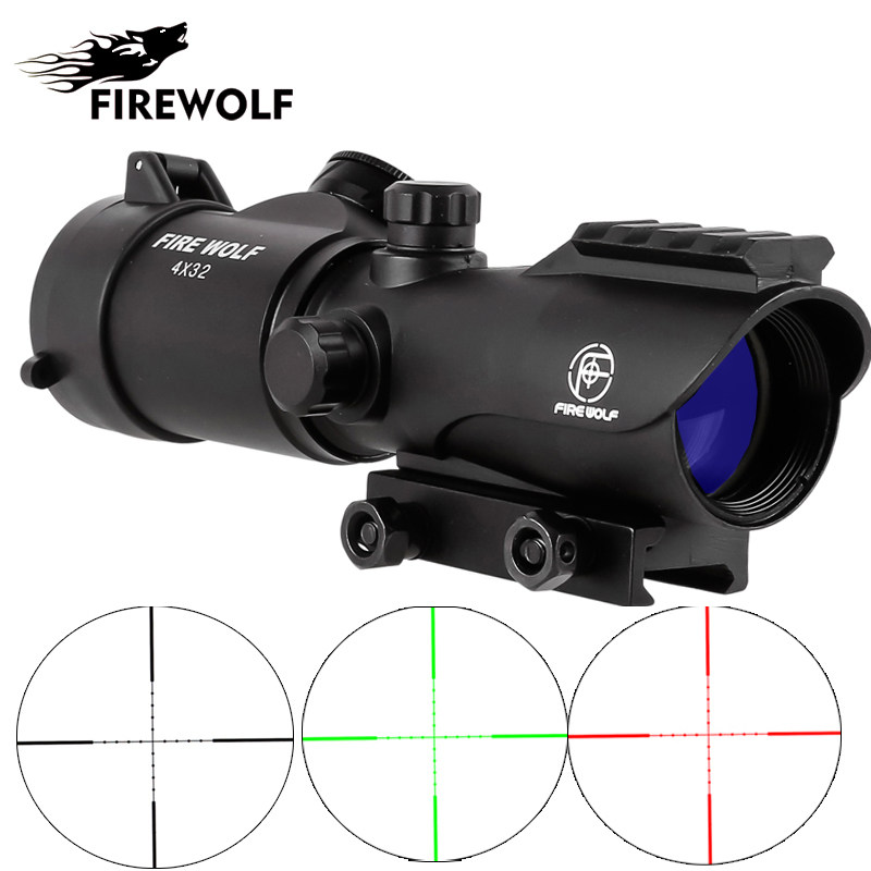 FIRE WOLF Tactical 4X32 LER Red Dot Sniper Scope Airsoft Sight Riflescope Rifle Scope for Hunting Shooting стоимость