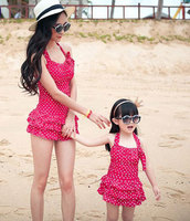 Mother And Girls Swimming Clothing Super Quality Dot One Piece Family Holiday Swim Set Mom And