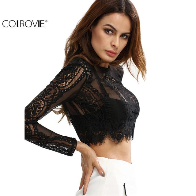 See-through Lace Crop Shirt Women Summer Round Neck Long Sleeve Sexy Tops Zipper Blouse