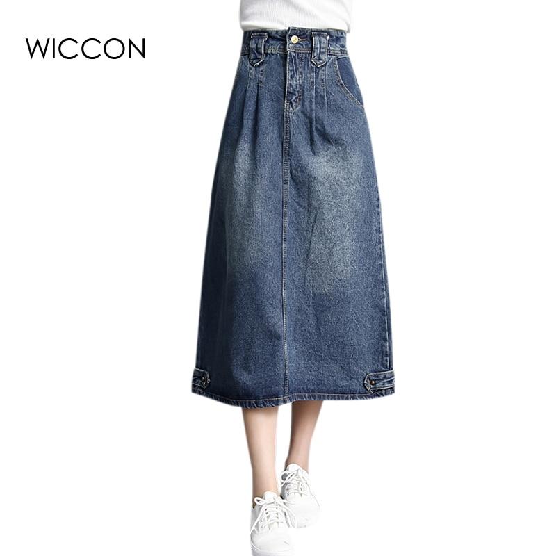 Tavaszi őszi farmer szoknya Denim hosszú szoknya magas derék - Női ruházat