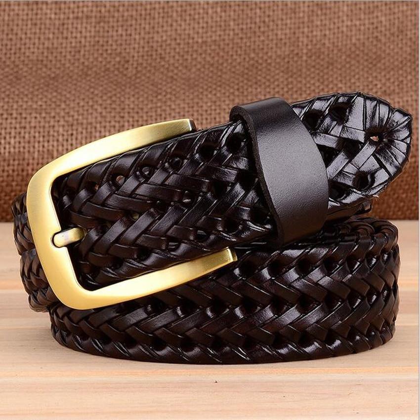 Дизайнерский известный бренд роскошный ручной вязки ремни женские мужские ремни мужской ремень кожаный Сплав Пояс на пряжке