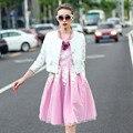 Пиджак Feminino женщин свободного покроя пиджак три четверти рукав бриллиант белый твердые блейзер Casaco Feminino 2015 весна осень