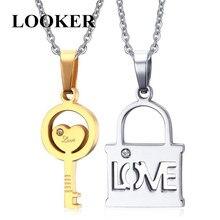 LOOKER Couple Love Key Lock Pendant Necklace For Lover's Stainless Steel Jewelry Creative Valentine's Day Gift цена в Москве и Питере