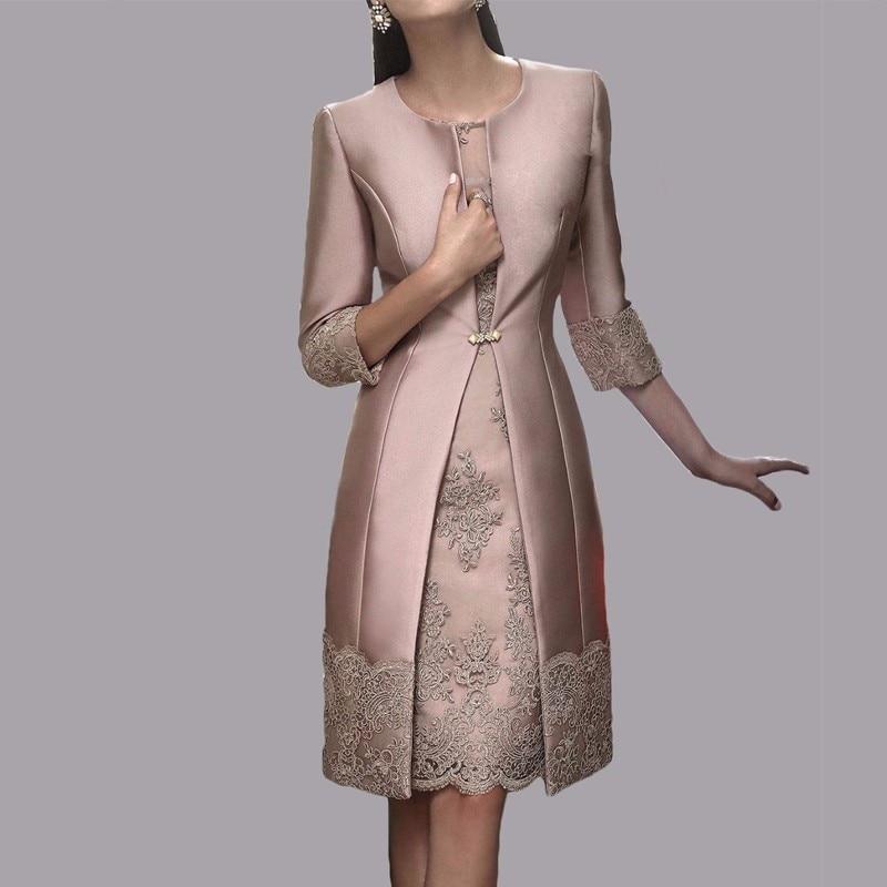 277e2d16c0 2016 Venta caliente vestidos para la madre de la novia de la vaina de la  longitud de la rodilla de color caqui de 2 unidades con chaqueta madre  vestidos de ...