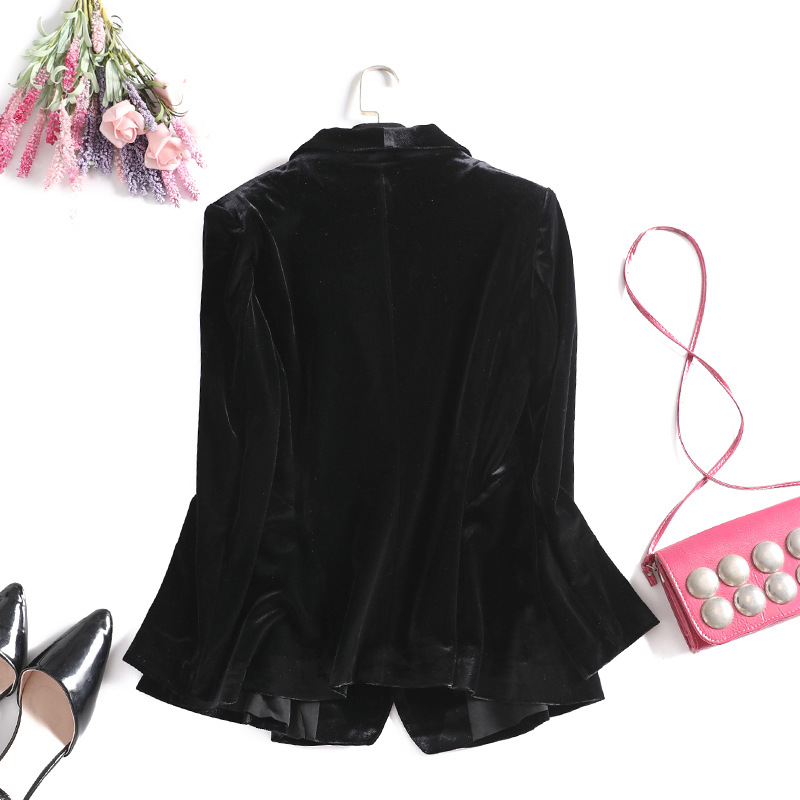 2019 New Gold Velvet Black Blazer Women Pearls Brooch Plus Size Women's Jackets Spring Autumn Long Sleeve Office Blazer Feminino