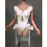 2019 White perspective Tassel Bodysuit Party Prom Bar Outfit stage bodysuit Trail Female Singer Show Romper