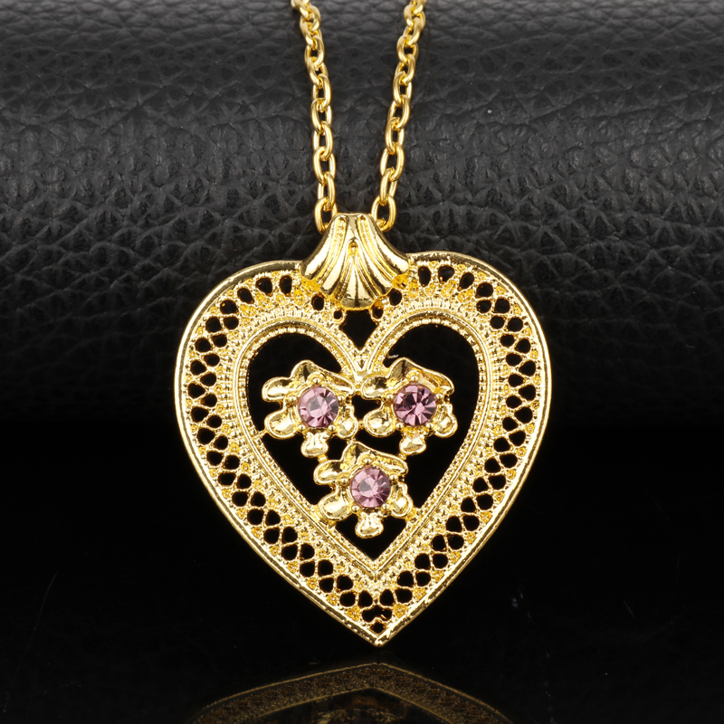 dongsheng Valentine's Day Arabic Muslim Stellux Crystal Hollow Heart Necklace Om Yoga Chakra Allah Gold Rhinestones Necklaces-30