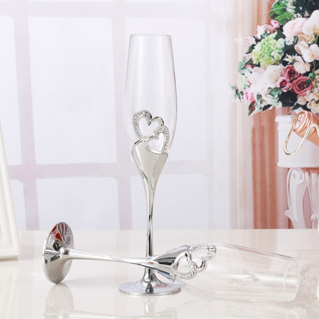 2 PCS /Set Crystal Wedding Toasting champagne flutes glasses Drink Cup Party marriage Wine decoration cups for parties Gift box  3