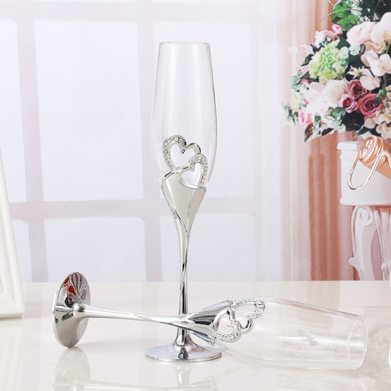 2 PCS /Set Crystal Wedding Toasting champagne flutes glasses Drink - Kitchen, Dining and Bar - Photo 4