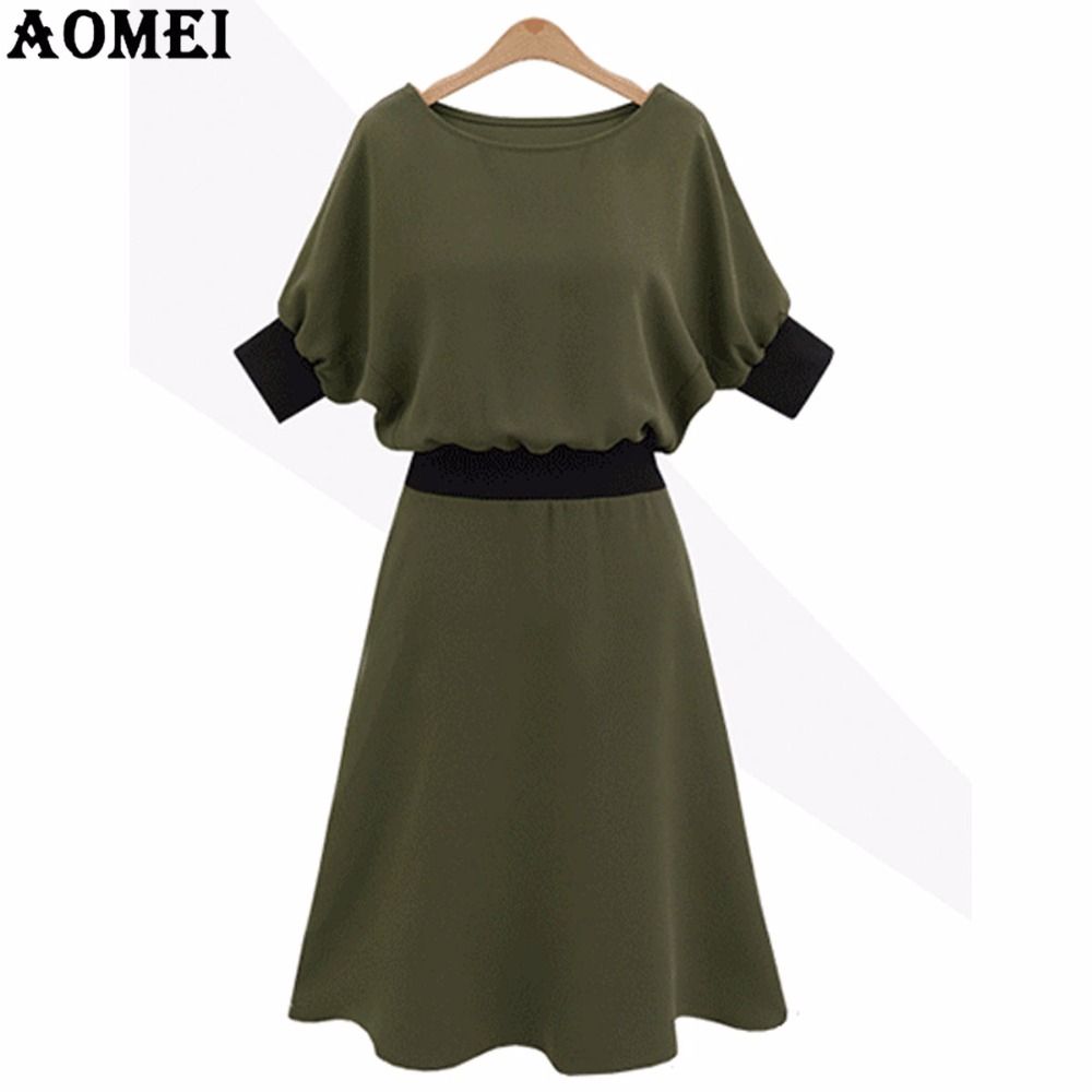 1a75ad9b15 Office Lady Summer Casual Dress Plus Size Army Green O Neck Loose Chiffon  Wear to Work