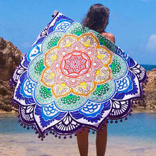 New Beach Mandala Indian Round Cover Up Beach Towel Beach Mat Shawl Yoga Mat Summer Letter Sarong Cloak Bathing Suit(China)