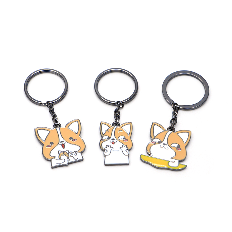 30pcs/lot Cartoon Keychains Metal Keyring Funny Husky Corgi Dog Key Chain Enamel Bag Pendant Hanging Ornament Jewelry Q1140 Ample Supply And Prompt Delivery