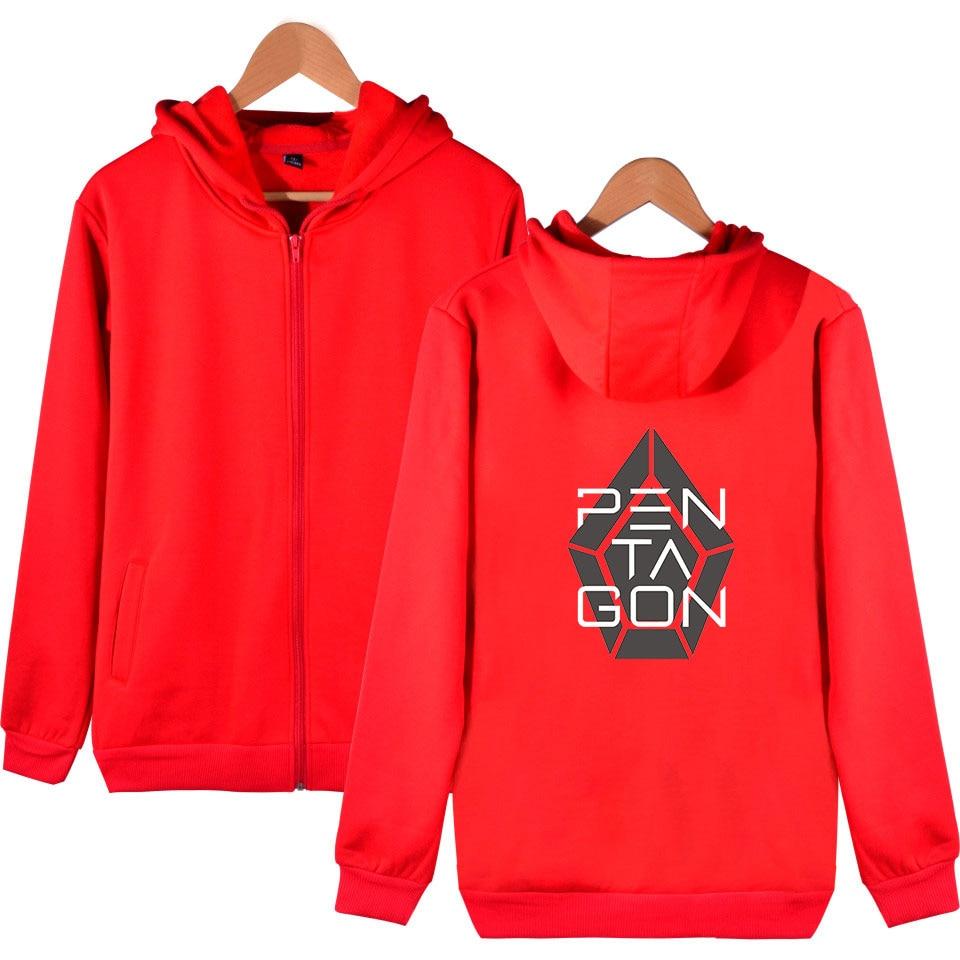 New 2019 Kpop PENTAGON Album Five Senses 2D Print Zipper Hoodies Sweatshirt Cute Women men Fashion Hoodies Zippers in Hoodies amp Sweatshirts from Men 39 s Clothing