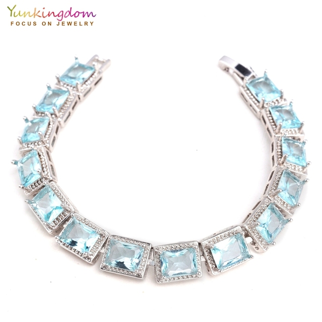 c3a68b0916c4 Yunkingdom luz azul cubic zirconia piedra cuadrada pulseras y brazaletes  para mujeres pulseras brazalete pulseras mujer LPK2167