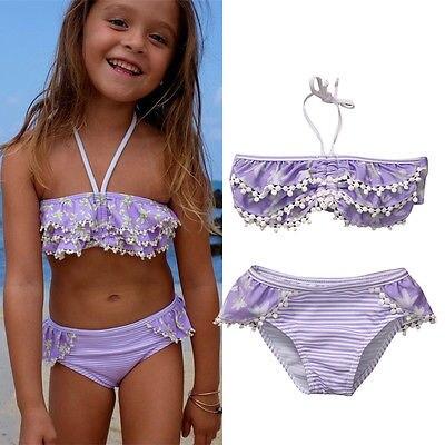 Floral Kids Baby Girls Bikini Suit Striped Swimsuit Swimwear Bathing