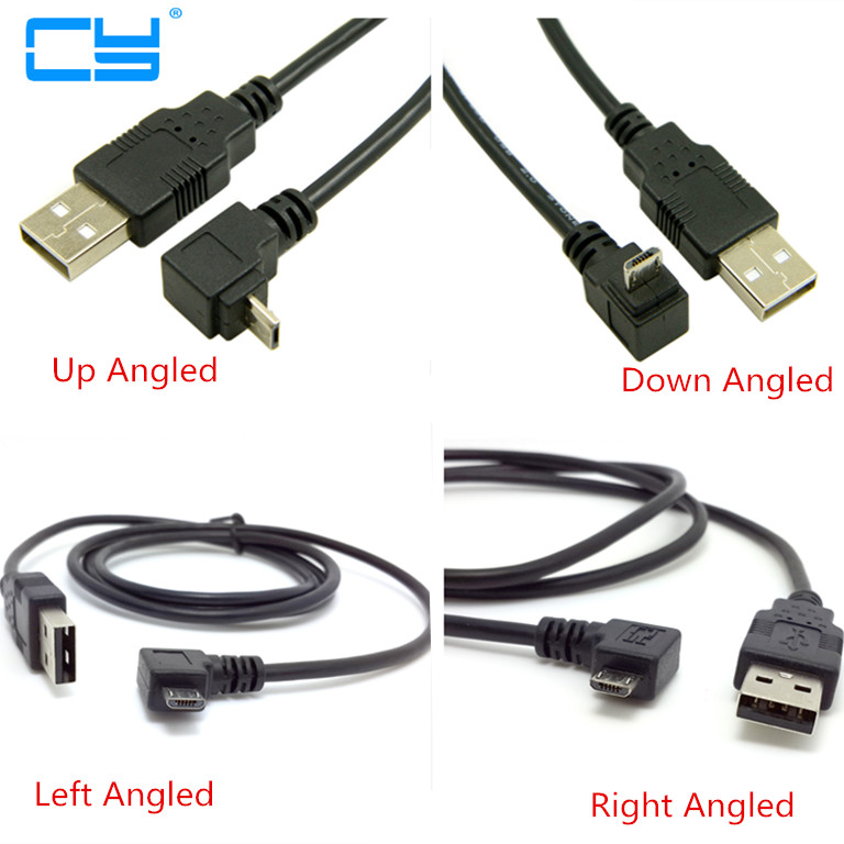 Up & Down & Left & Right Angled 90 Degree USB Micro USB Male To USB Male Data Charge Connector Cable 25cm-500cm For Tablet