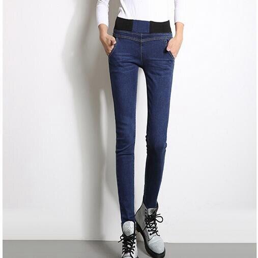 #1326 Autumn winter 2017 Thick Fleece Elastic waist Slim fit Warm jeans Skinny jeans woman Denim jeans femme High waist jeans