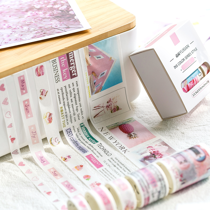 5Pcs box INS simple series Diary Decorative Washi Tape Scrapbooking DIY Sticker Adhesive tape Masking Tape Office stationery in Office Adhesive Tape from Office School Supplies