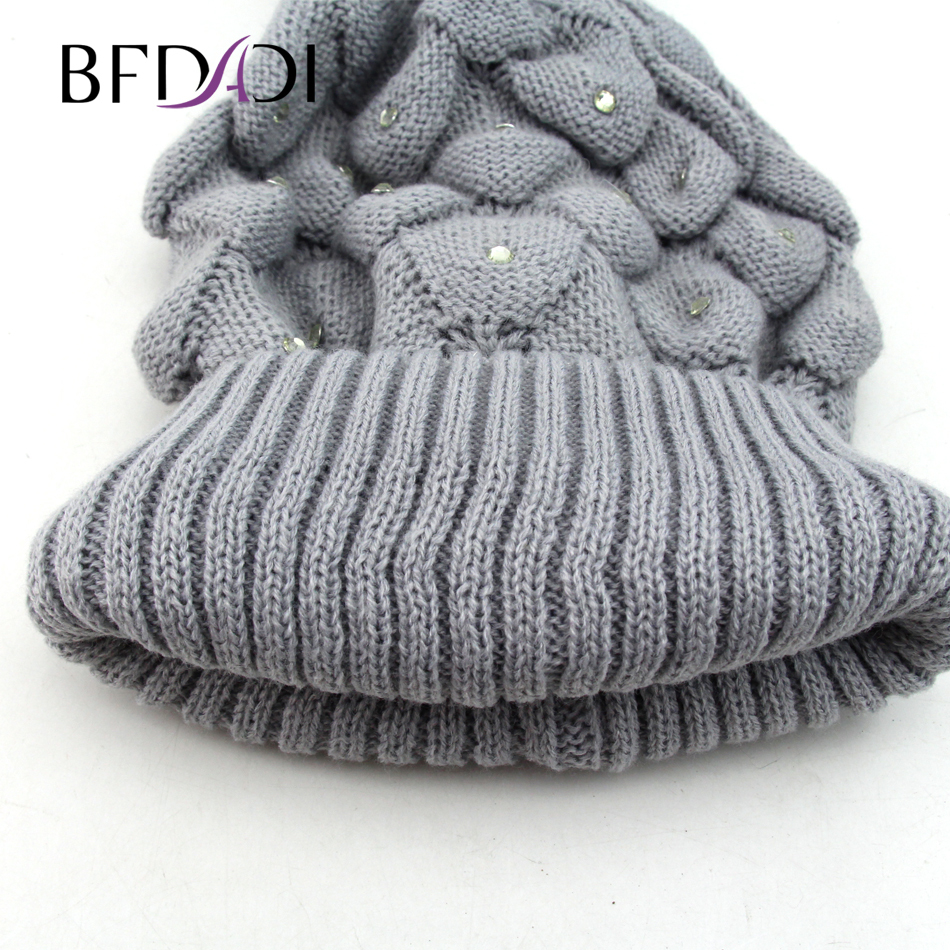 76d60a13b31 Bfdadi knitting beanie geometric hollow patterned winter hat skullies  beanies fur ball cap winter hat jpg