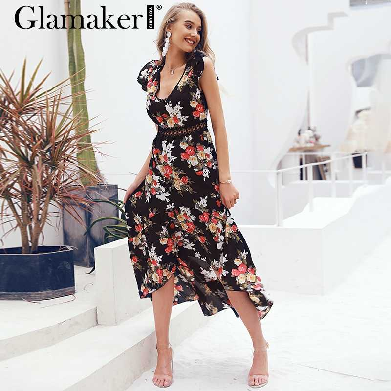 Glamaker floral Dress ... Glamaker Sexy deep V neck backless summer dress Women floral print  bohemian maxi dress Hollow out ...
