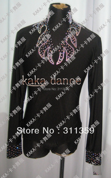 Man suit 100% New shine stones Competition Man's latin shirt-KAKA-M060-Custom made size