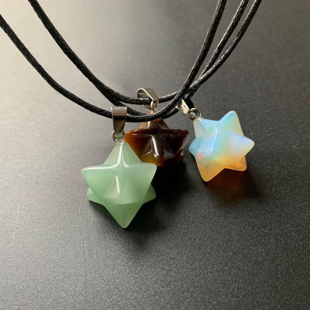 Hand Carved Geometric Shapes Merkaba Star Crystal Stones Aventurine Tiger Eye Opalite Pendant Handmade Necklace 1pc