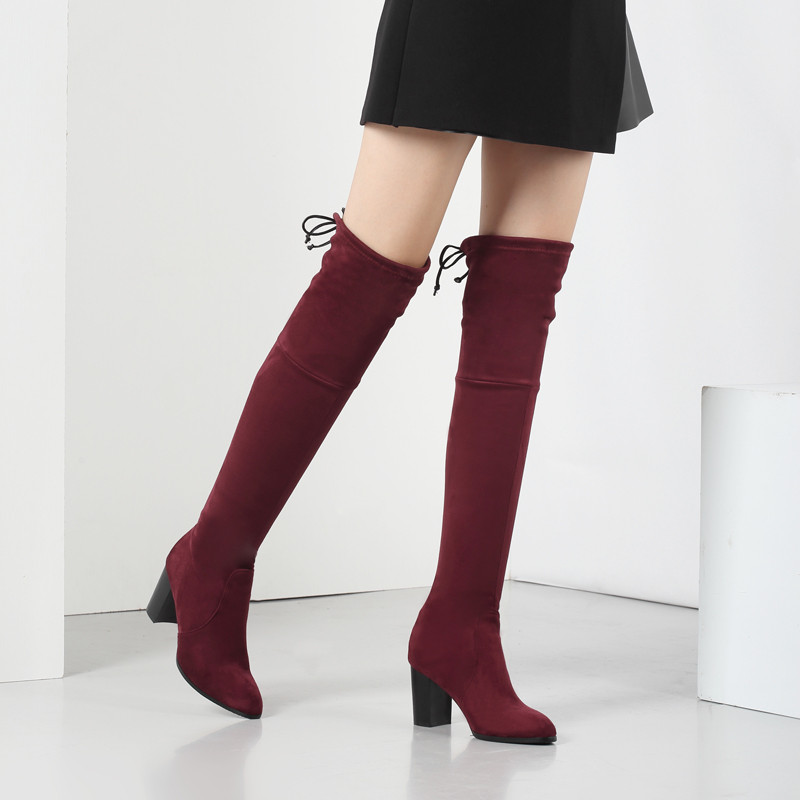 Ladies autumn winter europe plus size 41 42 43 sexy warm fur plush red brown black over the knee high heels long boots women F45