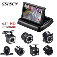 HD 4 3 Truck Car Monitor Foldable Colorful LCD Mirror Rearview Car Parking System Monitor System