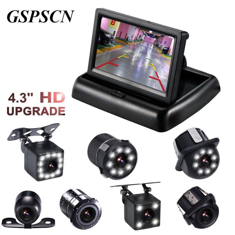 2 in 1 Einparkhilfe 4,3 zoll Klapp Auto in-Dash Monitor Video-Player mit Nachtsicht Wasserdichte Sicherungsrückansicht kamera