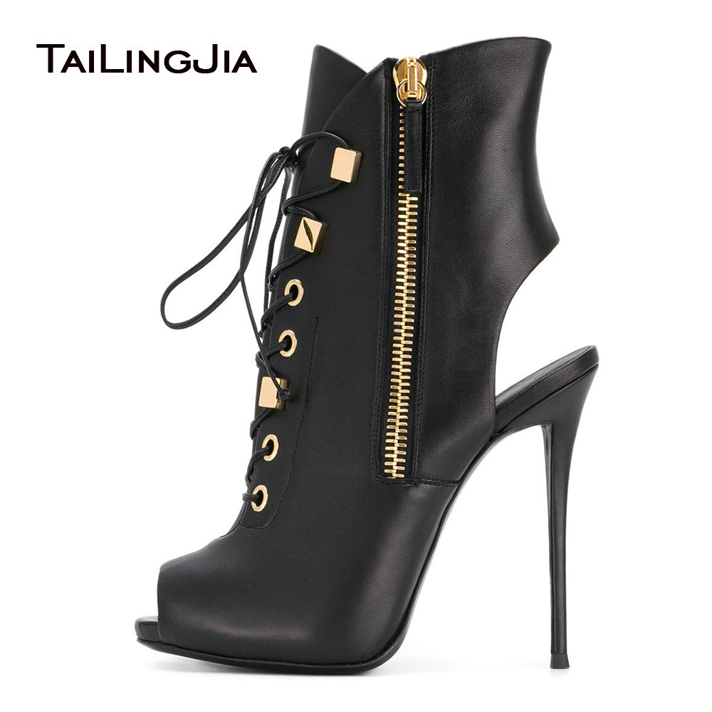 Women Black Peep Toe High Heel Platform Ankle Boots Lace up Sexy Summer Booties with Zipper Dress Shoes Evening Heels Large Size summer fashion shoes suede tassel stiletto high heels shoes peep toe lady ankle boots fringed lace up platform sandal boots